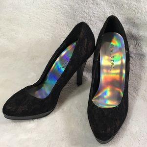Wild Diva black lace heels size 6.5